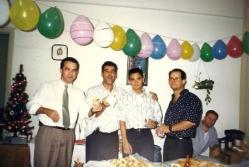 """Equipe """"F"""" Leste do DHPP em meados de 1990. Dr Osmar Ribeiro, Nélson Ariola, Marcelo Monstro e André Matsushita Gonçalves."""