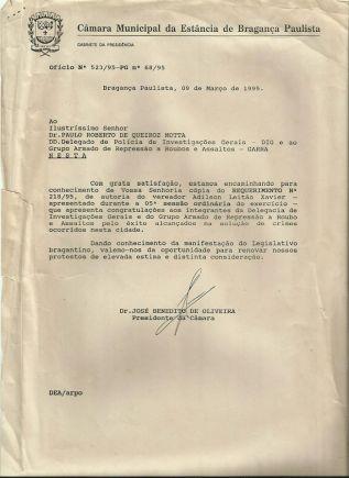 Elogio da Câmara Municipal de Bragança Paulista, ao Delegado de Polícia Titular da DIG e do GARRA, Paulo Roberto de Queiroz Motta e equipe, em 09 de março de 1.995.