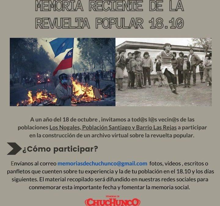 L@s invitamos a construir un Archivo de la Revuelta Popular en Chuchunco