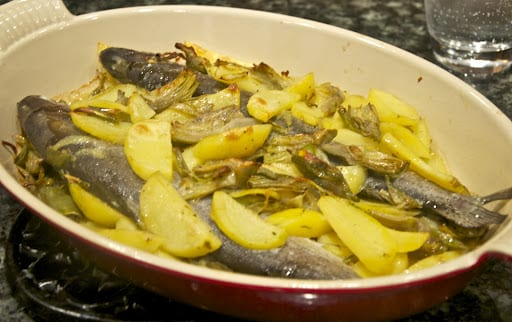 Pesce al forno con patate e carciofi (Roasted Fish with Potatoes and Artichokes)