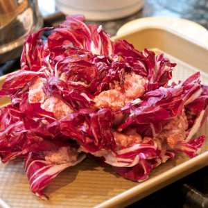 Rosa di radicchio (Radicchio Rose) ready for the oven