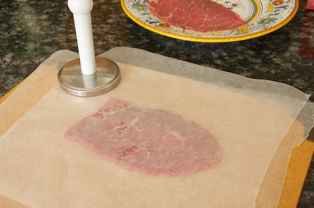 Beef Carpaccio: Ready for a pounding