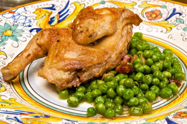 Braised Quail with Peas