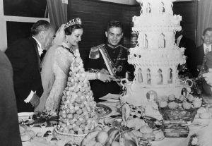 Queen Dina of Jordan Cutting Wedding Cake