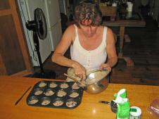 Alison cooking a batch of muffins