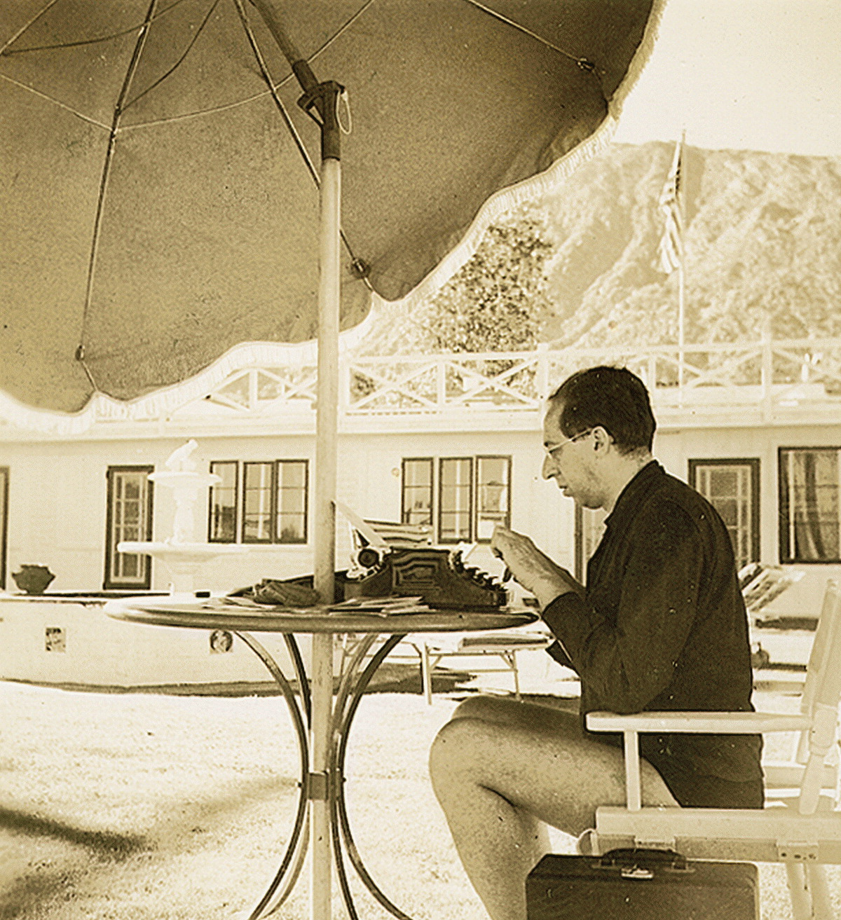 Composer Aaron Copland at his typewriter in California; Aaron Copland Collection, Library of Congress, circa 1939 or 1940