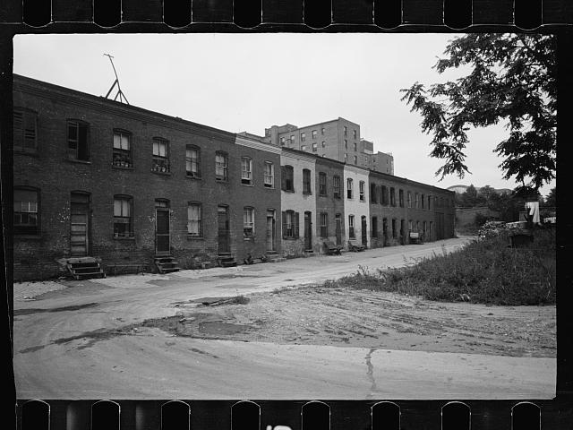 Block of slum houses with outside toilets and water supply, Washington, D.C.  July 1935