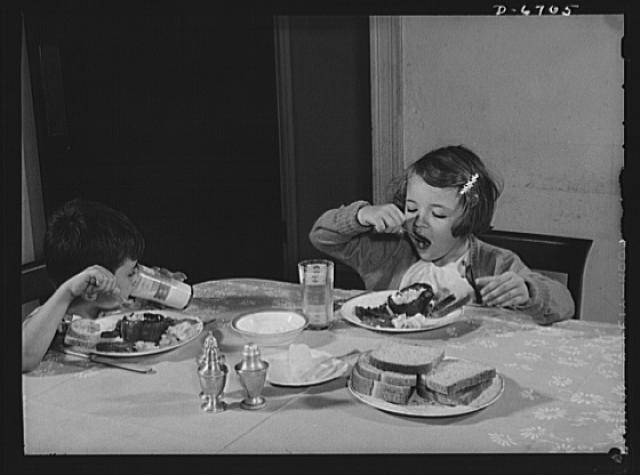 Health measures for low home temperatures. With less fuel available to heat Americas homes, youngsters must have the right kind of inner fuel to keep them warm and healthy in sixty-five degree rooms. A balanced, vitamin-rich diet will aid materially in enabling children to build up resistance to the colder temperatures which will prevail this winter in homes and schools.  1942 October.  Albert Freeman, photographer (Library of Congress)
