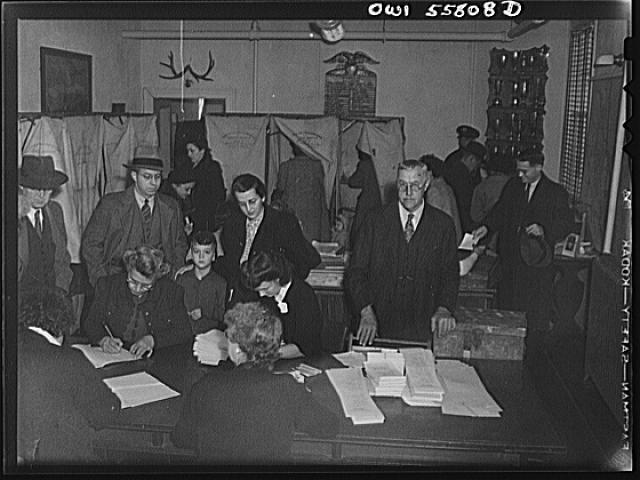 Interior of the firehouse where citizens are voting in the national presidental election, Arlington, Virginia, November 7, 1944