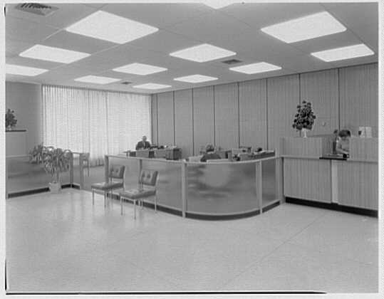 Edison Savings & Loan, Springfield Blvd. and 61st Ave. Interior, to officers platform.  September 11, 1968.