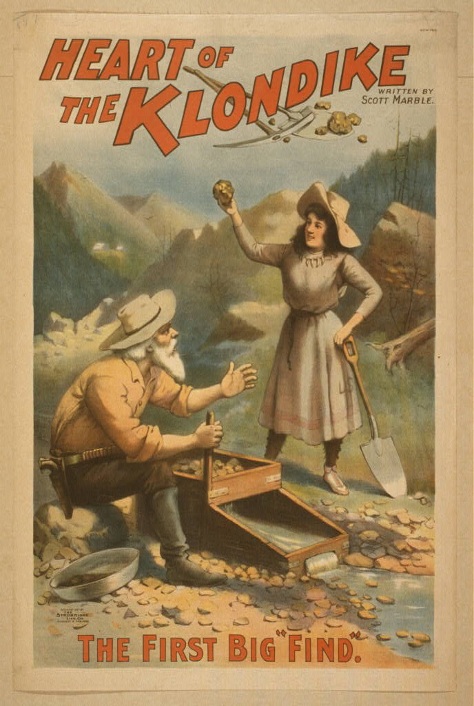 Heart of the Klondike written by Scott Marble.  Copyright 1897 by The Strobridge Lith. Co., Cincinnati & New York
