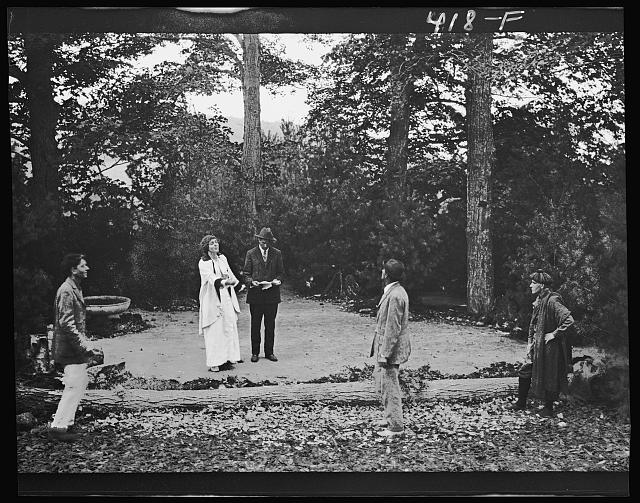 Scene from Sanctuary, A Bird Masque, by Percy MacKaye, in rehearsal for first performance at the Meriden Bird Club sanctuary dedication in New Hampshire.  1913 September.  Arnold Genthe, photographer.