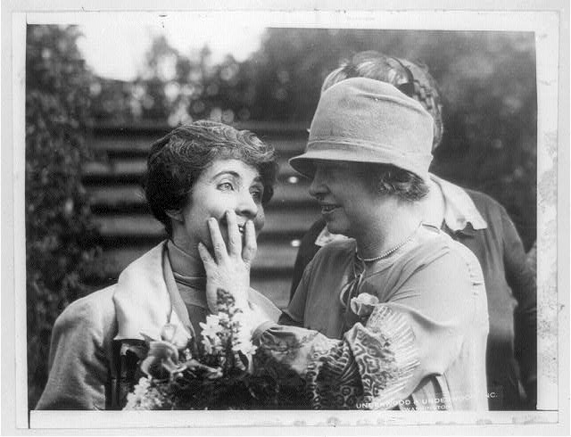 Miss Helen Keller reading Mrs. Coolidges lips.   c1926 Jan. 12.  (Library of Congress)