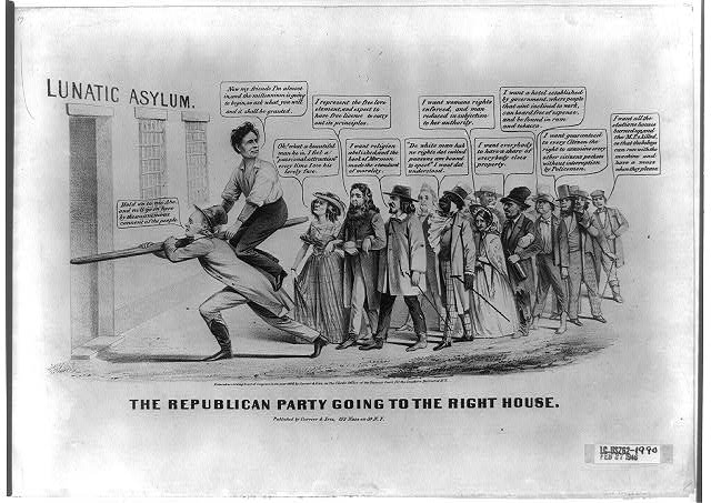 Abraham Lincolns supporters are portrayed as radicals and eccentrics of various stripes. The satire is loosely based on an anti-Fremont cartoon from the previous presidential race, The Great Republican Reform Party (no. 1856-22), also issued by Nathaniel Currier. Here Lincoln, sitting astride a wooden rail borne by Horace Greeley, leads his followers toward a lunatic asylum. Greeley instructs him, Hold on to me Abe, and well go in here by the unanimous consent of the people. Lincoln exhorts his followers, Now my friends Im almost in, and the millennium is going to begin, so ask what you will and it shall be granted. At the head of the group is a bearded man, arm-in-arm with a woman and a Mormon. He claims to represent the free love element, and expect to have free license to carry out its principles. The woman looks at Lincoln, saying Oh! what a beautiful man he is, I feel a passionate attraction every time I see his lovely face. The Mormon adds, I want religion abolished and the book of Mormon made the standard of morality. They are followed by a dandified free black, who announces, De white man hab no rights dat cullud pussons am bound to spect I want dat understood. Behind him an aging suffragette says, I want womans rights enforced, and man reduced in subjection to her authority. Next a ragged socialist or Fourierist, holding a liquor bottle, asserts, I want everybody to have a share of everybody elses property. At the end of the group are three hooligans, one demanding a hotel established by government, where people that aint inclined to work, can board free of expense, and be found in rum and tobacco. The second, a thief, wants the right to examine every other citizens pockets without interruption by Policemen. The last, an Irish street tough, says, I want all the stations houses burned up, and the M.P.s killed, so that the bohoys can run with the machine and have a muss when they please.  (Published 1860)