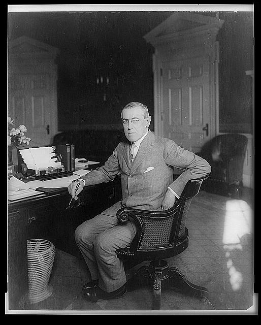 Woodrow Wilson, circa 1913 (in the Oval Office?) - Library of Congress image