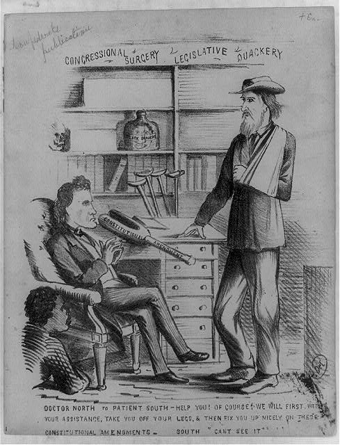 A rare anti-North satire, probably dealing with either the Crittenden Compromise or the Douglas Compromise. Proposed in December 1860 in the form of several constitutional amendments, the former called for restoration of the Missouri Compromise line and prohibition of slavery north of it. Stephen Douglass compromise, an alternative proposed immediately thereafter, offered two similar amendments but also advocated settlement of the slavery issue by popular sovereignty. Congressional Surgery reflects the viewpoint of the lower South, which rejected both compromises. Doctor North (Pennsylvania congressman Thaddeus Stevens) sits with hands folded in a chair at left, a young black crouching beside him. On the doctors desk rests a wooden leg labeled Constitutional Amendment. The Doctor says, Help you! Of Course! We will first, with your assistance, take you off your legs, & then fix you up nicely on these Constitutional Amendments. His patient South, a tall bearded man with his left arm in a sling, replies, Cant see it. Behind the desk are several crutches and bookshelves holding a bottle of Black Draught and a skull.  Published 1860 or 1861.  (Library of Congress)