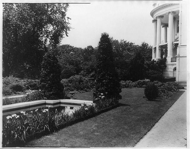 Garden of the White House and corner of the White House, c. 1921.  Frances Benjamin Johston, photographer.
