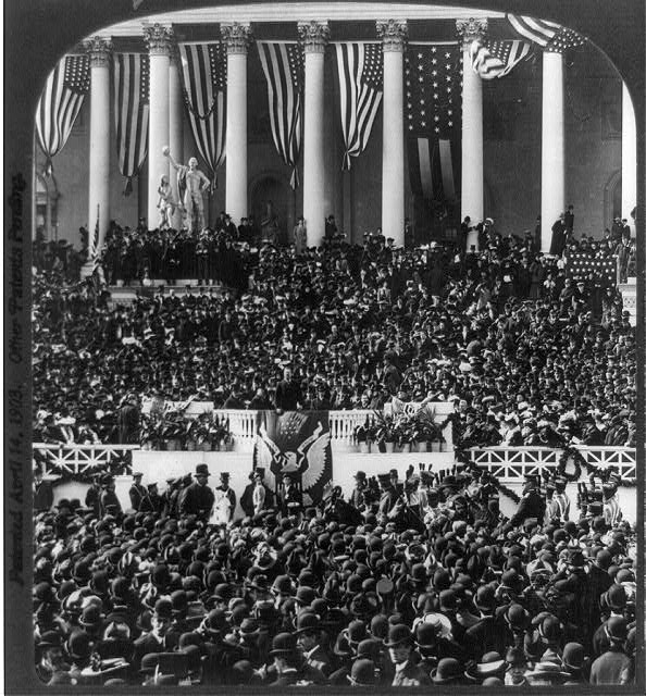 President Theodore Roosevelt, 26th President of the United States (1901 - 1909), delivering his second inaugural address, Washington DC, March 4, 1905.