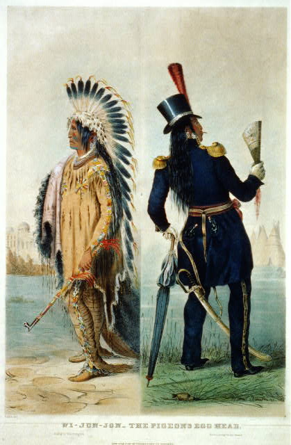 Returning to his home (Two views of Wi-jun-jon, first, on his way to Washington wearing traditional Native American dress and carrying a calumet, then, on his return to his village wearing a uniform with top hat and carrying a fan and an umbrella.  Pubd. by Currier & Ives, between 1837 and 1839.  Artist, George Catlin