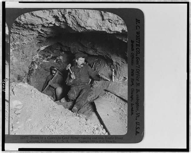 Two gold miners down in a Colorado gold mine.  Eagle River Canyon, Colorado.  1905.