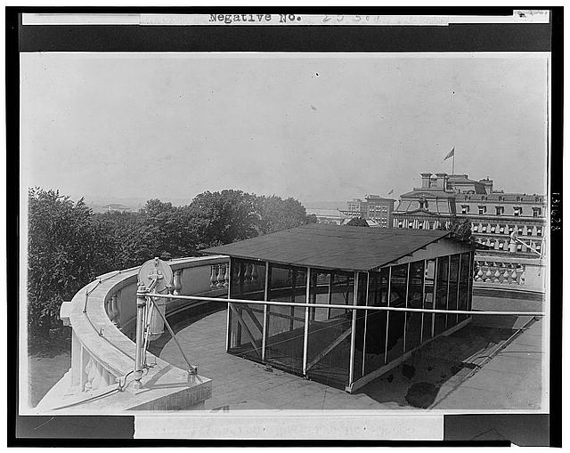 Sleeping porch on the roof of the White House Erected during the Taft Administration.