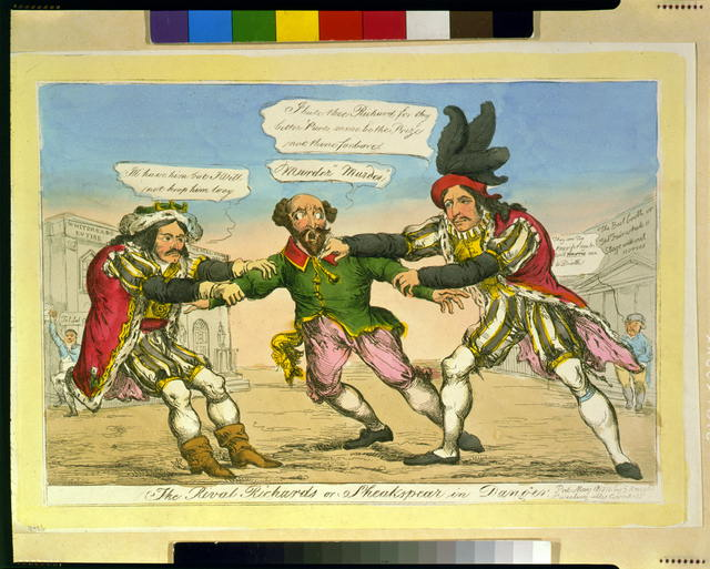 Political cartoon showing Edmund Kean and Charles Mayne Young, both dressed as Richard III, struggling for Shakespeare, who stands between them.  Published by S. Knight, London, 1814.
