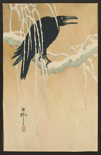 Yuki yanagi ni karasu (Blackbird in snow) Koson Ikeda, artist.   (Library of Congress)