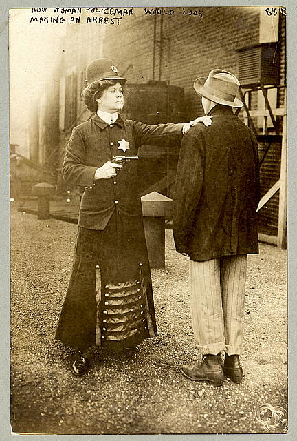 How woman policeman would look making an arrest.  September 23, 1909 (Library of Congress)