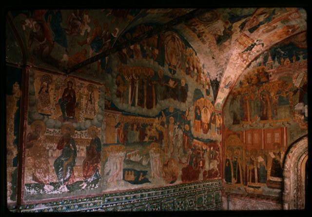 Church of Elijah the Prophet (1647-50), interior, west gallery, south corner, with frescoes including Last Judgement (1715-16), Yaroslavl, Russia. (c1992) (Photo: William Craft Brumfield)