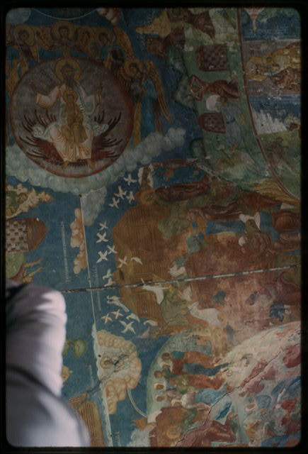 Church of Elijah the Prophet (1647-50), interior, north gallery, ceiling vaults, with frescoes of Noahs Ark (1715-16), Yaroslavl, Russia (c1992) (Photo: William Craft Brumfield)