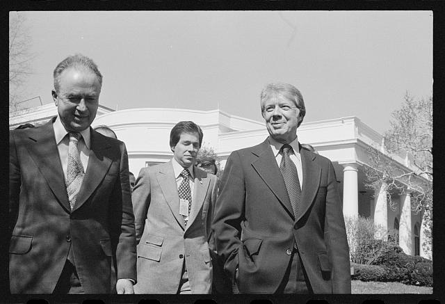 President Jimmy Carter and Israeli Prime Minister Yitzhak Rabin at the White House, Washington, D.C.  March 8, 1977.  (Marion S. Trikosko, photographer)