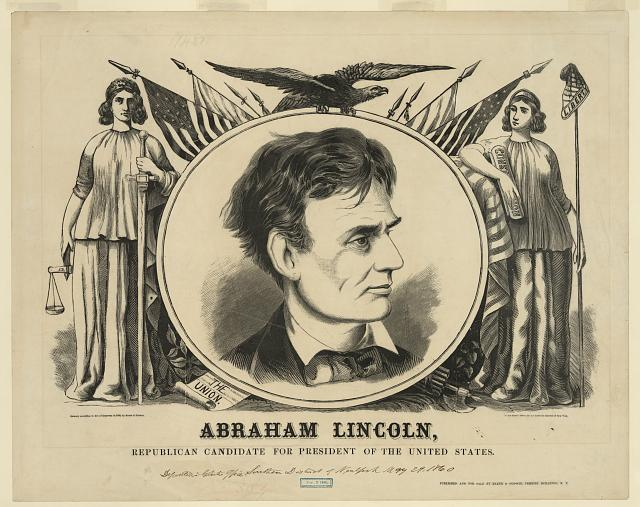 Poster for campaign of Abraham Lincoln for President, 1860 - Baker & Godwin, publisher; Library of Congress