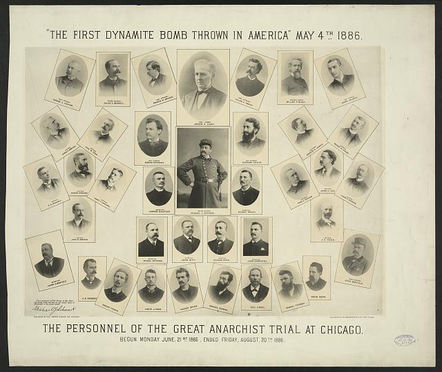 The first dynamite bomb thrown in America May 4th, 1886. The personnel of the great anarchist trial at Chicago. Begun Monday June 21st 1886. Ended Friday, August 20th 1886.  Copyrighted by M. Umbdenstock & Co., Chicago, 1886.  I have examined all the pictures on this sheet and hereby certify that they are all correct copies of photographs of the persons named. Police Captain. Michael J. Schaack-- lower left.