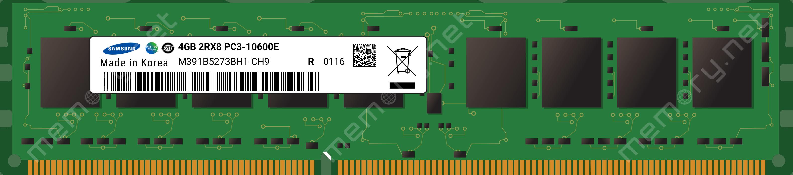 M391B5273BH1-CH9 4GB PC3-10600E DDR3-1333 2Rx8 ECC Non REG Memory
