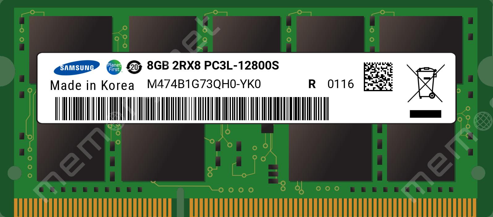 M474b1g73qh0 Yk0 Samsung 1x 8gb Ddr3 1600 Sodimm Pc3l 12800s Dual Rank X8 Module