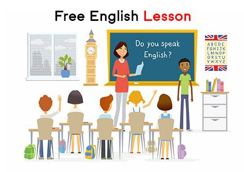 English lesson at school - cartoon people characters illustration with a teacher, a boy speaking at the blackboard and children raising hands. Composition with books, alphabet, plant, desks, Big Ben
