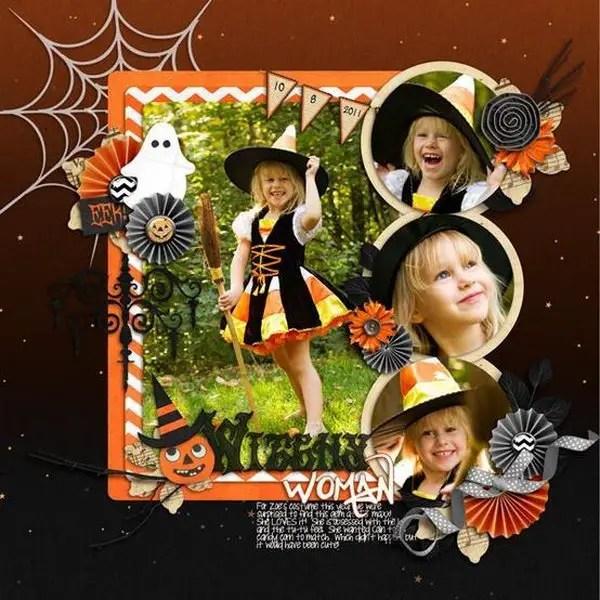 Document The Halloween Costumes Halloween Layout Ideas Scrapbooking