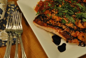 Salmon with Roasted Plum Tomatoes and Balsamic Glaze
