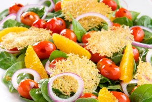 Tomato Salad with Parmesan Chips, Spinach and Oranges