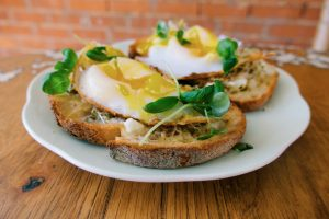 Open Faced Duck Egg Sandwich