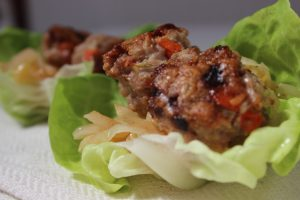 Lettuce Wraps with Meatballs & Spicy Asian Slaw