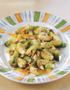 Roasted Brussels Sprout Salad with Apricots and Toasted Almonds
