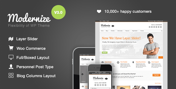 modernize wordpress theme