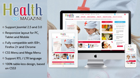 sj health magazine joomla template