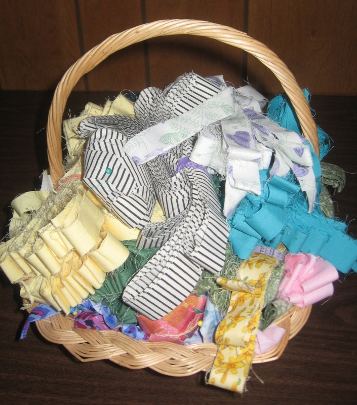 Basket of fabric strips