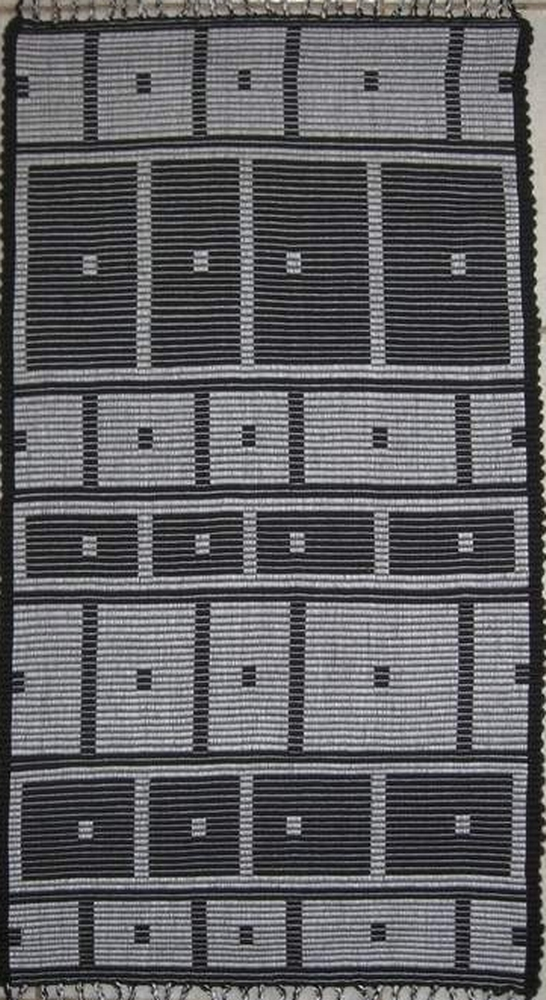 """""""Night Crawlers"""" handwoven wall rug woven in rep weave"""