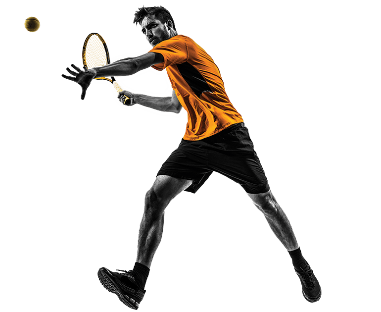 Tenista com blusa laranja e short preto