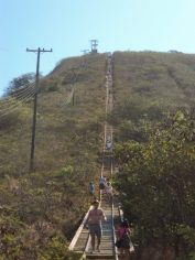 View of my sister-in-law at the start of the bridge portion and a look how steep it is to the top