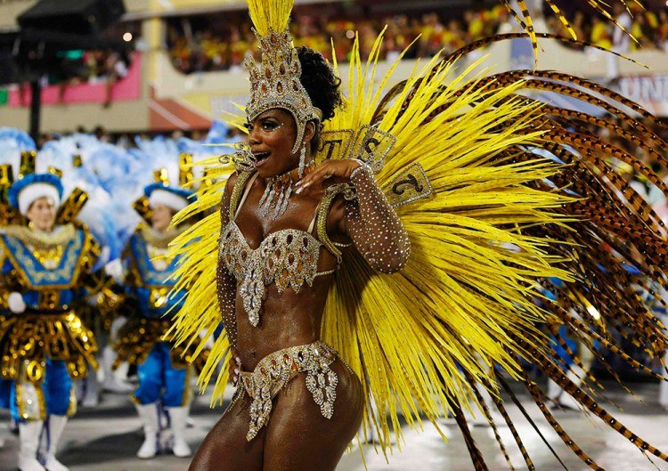 A reveller of the Unidos da Tijuca samba school participates in the annual carnival parade at Rio de Janeiro