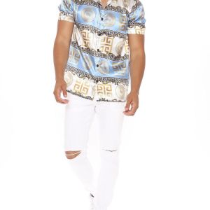 Shirt in gold and blue color and let your style speak for your personality 2